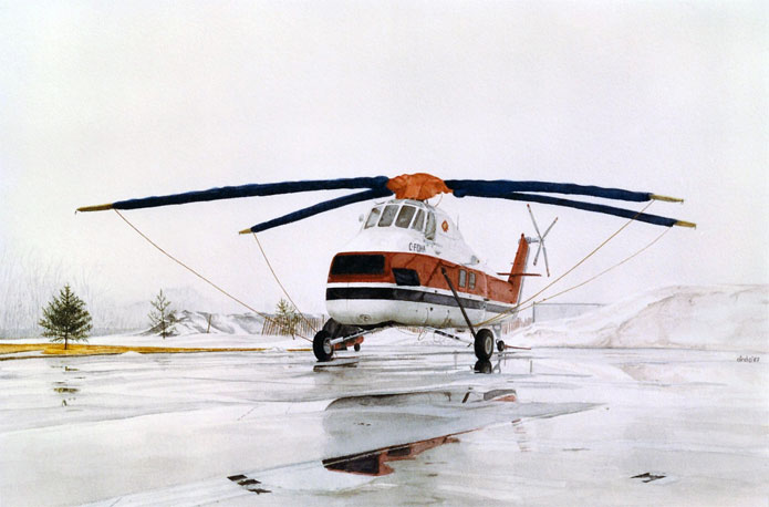 Sikorsky s 58t c foha sits in the january fog at